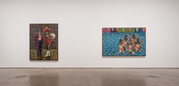 Two paintings by Derek Fordjour hang in a white gallery space. The left-hand painting is portrait format and pictures a woman in show dress accompanied by a man in a purple suit and bowler hat. The right-hand painting pictures a group of synchronised swimmers leaping out of a swimming pool.