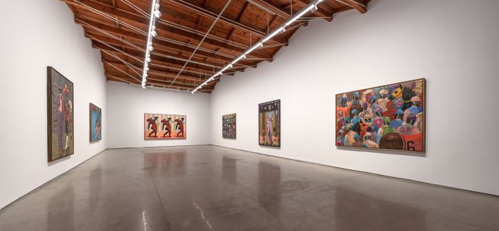 Six large-scale paintings by Derek Fordjour hung in a white gallery space.