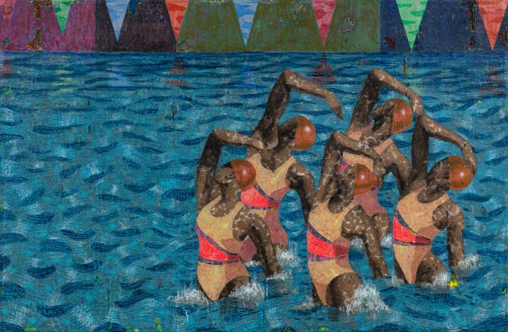 A painting by Derek Fordjour features a group of synchronised swimmers in the foreground, leaping from a swimming pool with colourful, triangular flags hanging at the top of the canvas.