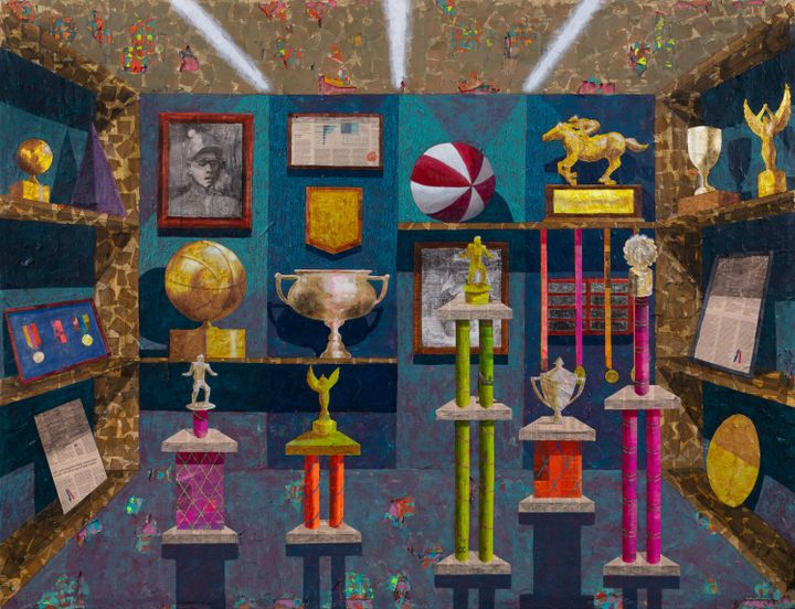 A painting by Derek Fordjour features a room full of trophies, with three spotlights shining at the top of the canvas.