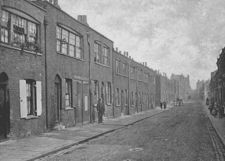 A black and white drawing captures East London in the 19th century and the cottages of silk weavers.