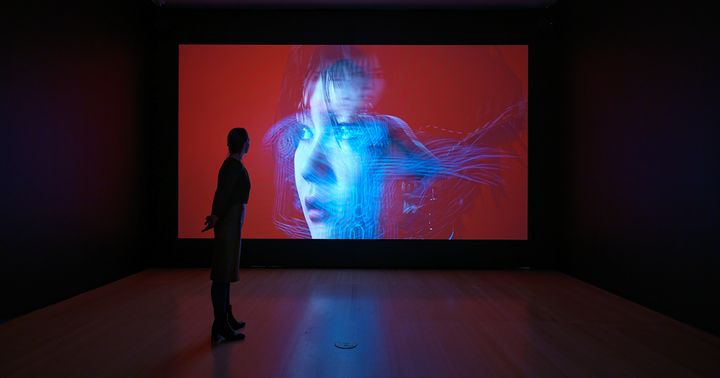 One large screen in a darkened gallery space features the artist Lu Yang dressed as her alter ego Doku against a red background.