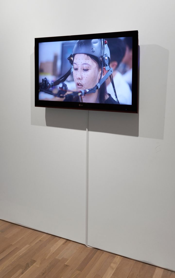 A screen in the gallery space shows the artist Lu Yang with motion capture technology registering her facial movements.
