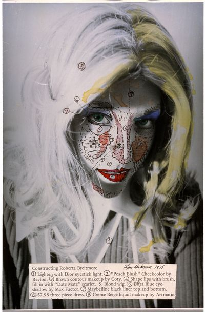 A black and white portrait of a woman is overlaid with black dots and lines that outline their facial features, along with encircled numbers and strokes of coloured paint on their lips and hair.