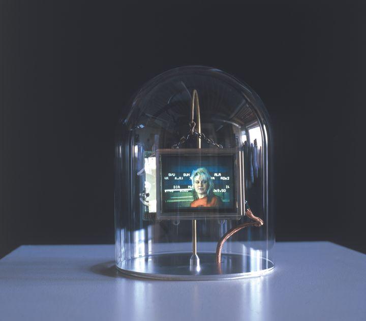 A female figure is captured in a screen beneath a glass dome.