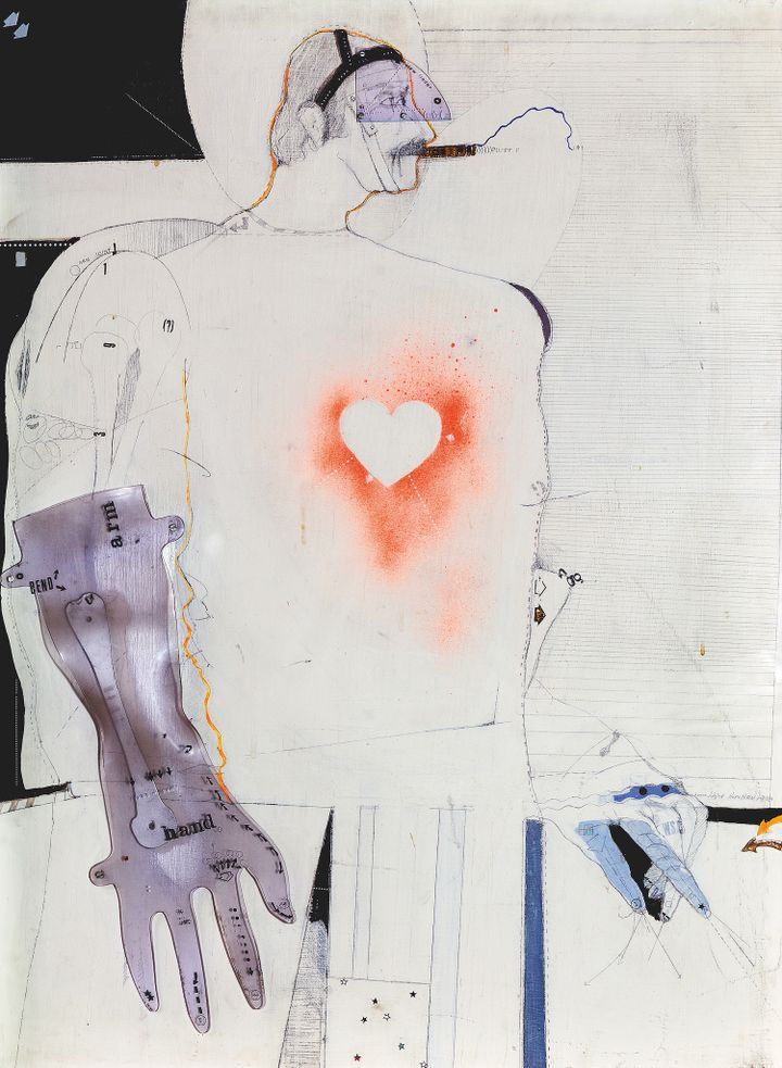 A male figure is outlined in pencil and collaged with fragments. The red spray painted outline of a heart is situated at the centre of their chest.