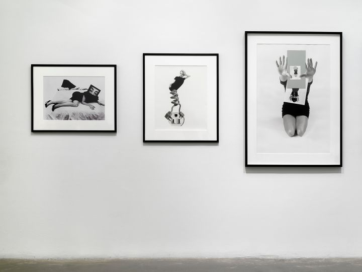 Three black and white portraits of women in different poses sit in a row of three, framed in black.