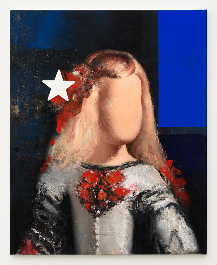 A small child figure from Las Meninas by Diego Velazquez has been painted against a blue and black background with their face blurred out. A large white star is overlaid on the top left-hand side of their head.