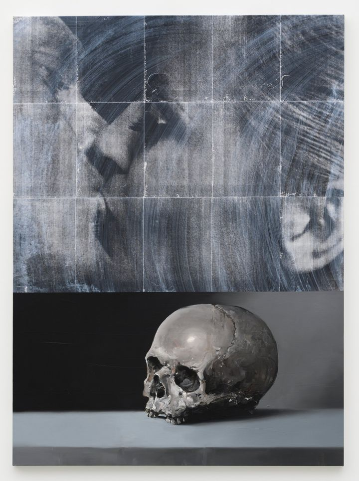 A gleaming scull has been rendered in black and white atop a table in a vertical canvas, the top half of which is painted in gestural black and white strokes.