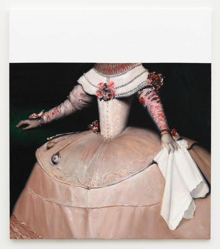 A court figure in extravagant dress is painted against a black background, their head concealed by white paint that covers the top half of the canvas.