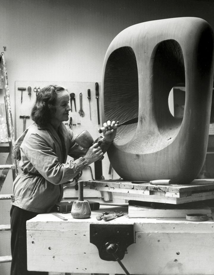 Barbara Hepworth at work in the Palais de Danse studio, St Ives, Cornwall (1963). Courtesy Bowness. Photo: © Val Wilmer.