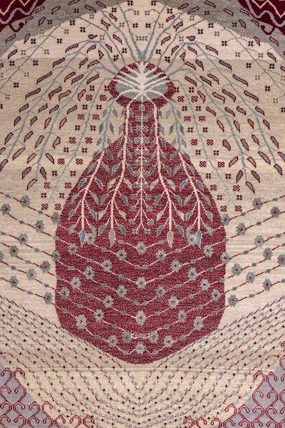 Vahid Khan, Shabnam (2021) (detail). Wool and bamboo silk. 121.92 x 182.88 cm. Exhibition view: Hanging Gardens, Nature Morte, Delhi (29 July–28 August 2021).
