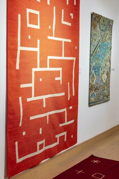 Wall: Sagarika Sundaram, Nokia; Meena Dhanota, Nadi pahad (2021). Ground: Sagarika Sundram, Symbols. Exhibition view: Hanging Gardens