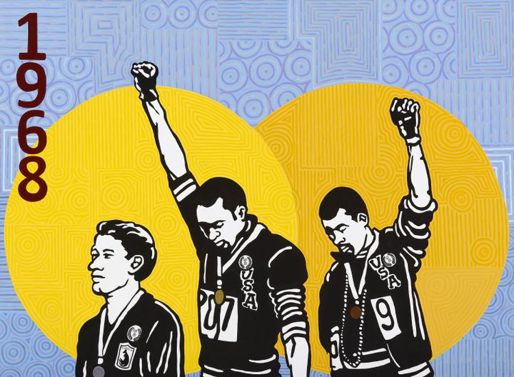 A painting of three men, two with their fists raised, against a yellow and blue backdrop.