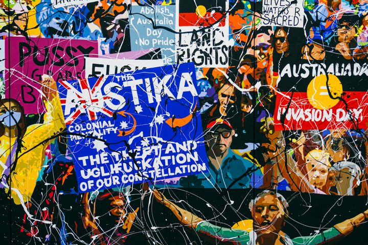 A painting of a group of people rioting by Richard Bell, holding placards that have phrases such as 'Australia Day = Invasion Day', with abstract strokes of paint across the surface.