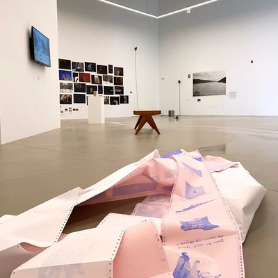 Pink paper in a pile on the floor is photographed up close. Beyond it, the rest of the exhibition space is just visible.