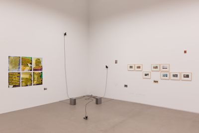 In the white exhibition space, images are placed on the walls, including posters covered in yellow text to the left and small photographs in frames to the right. In the corner, a series of microphones extend from the wall by wires.