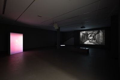 A dark exhibition space features two illuminated artworks, including a pink, glowing screen to the left and a black and white photograph that is lit up, showing a man seated in a stone tunnel beside a white horse.