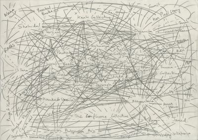 A map by Sohrab Hura is covered in lines connecting words, places, dates in a frenzy.
