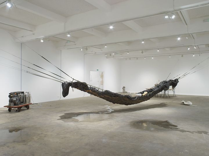 An set of works form an installation in the gallery space, featuring a large black hammock-like structure made up of netting and tarpaulin, along with a machine made up of milk canisters on a trolley. There are pools of water on the ground.