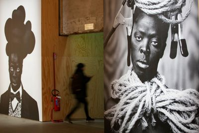Blown-up posters of Zanele Muholi's artworks at the 58th International Art Exhibition