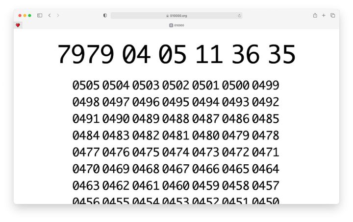 A countdown of ten thousand years is visualised on a webpage.