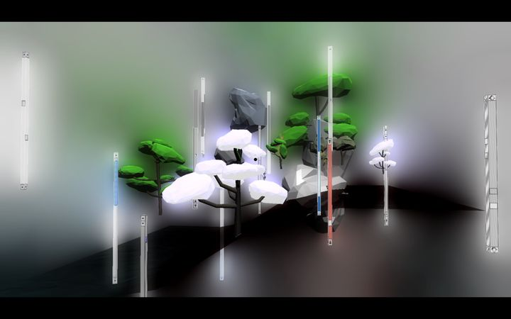 A cluster of trees in the video game Deep Simulator by aaajiao are surrounded by mist.