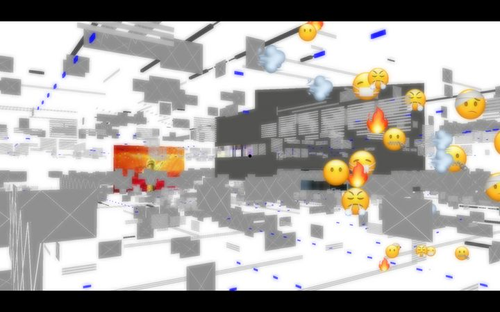Angry, sick, and tired emojis float in a glitched digital space that is part of Aaajiao's video game Deep Simulator.
