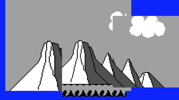 A line of mountains are digitally rendered in tones of grey. Bars of blue outline the left-hand and bottom sides, and there is a cloud above.