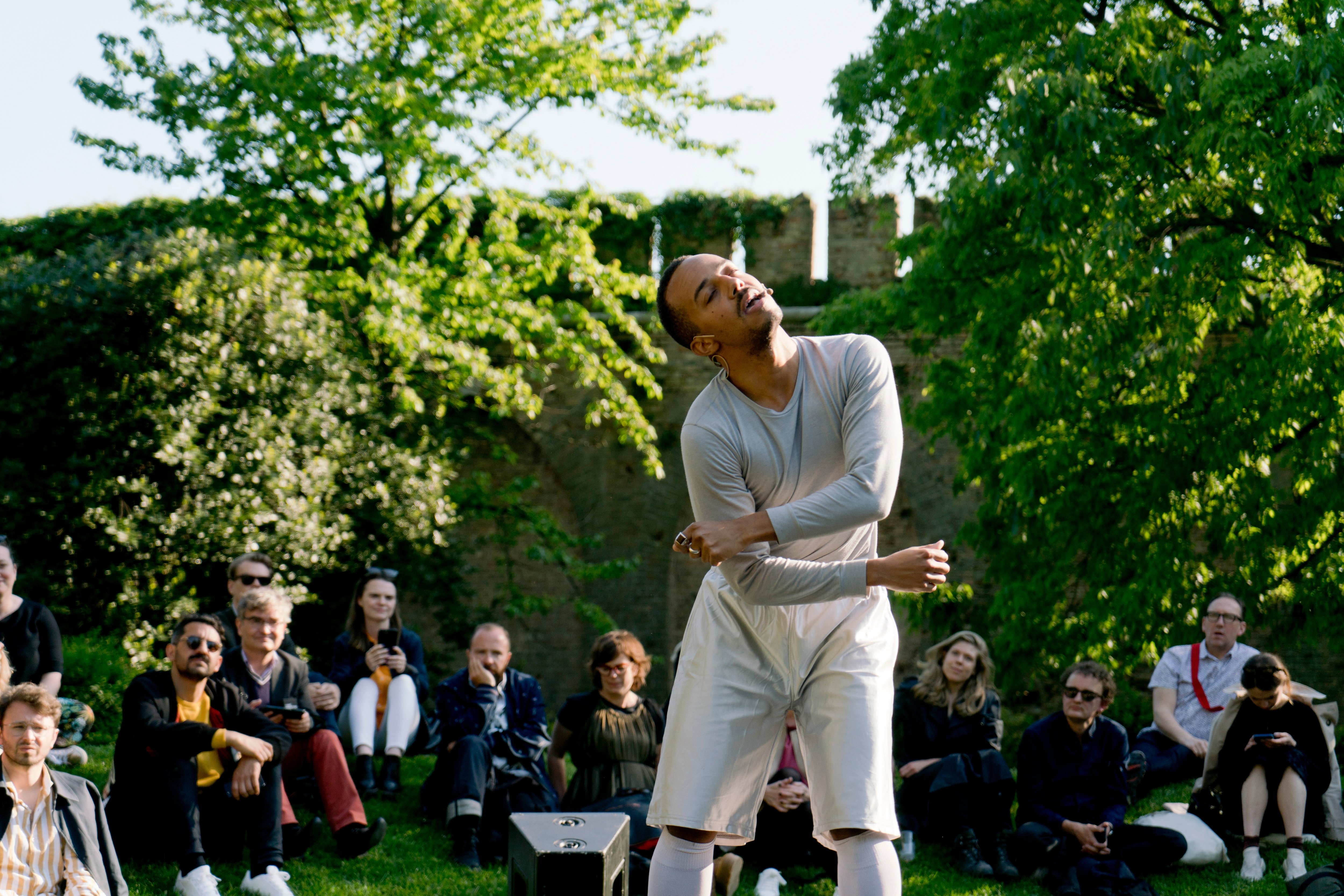 Paul Maheke, Seeking After the Fully Grown Dancer deep within (2016–2018). Performance part of Meetings on Art, May You Live In Interesting Times, The 58th International Art Exhibition – la Biennale di Venezia (11 May–24 November 2019). Courtesy Delfina Foundation and Arts Council England. Photo: Riccardo Banfi.