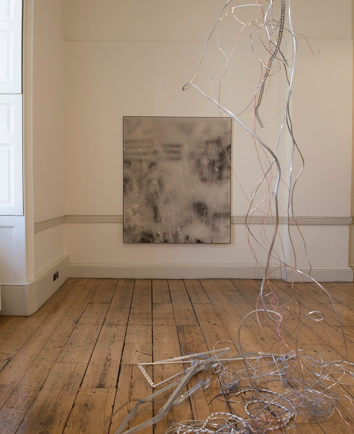 Karin Ruggaber, Untitled #7 (Weather) (2018) (foreground); Pheobe Unwin, Building (2018) (background). Exhibition view: Beyond Boundaries, Somerset House, London (12 March–2 April 2019). Courtesy Somerset House. Photo: Malcolm Park