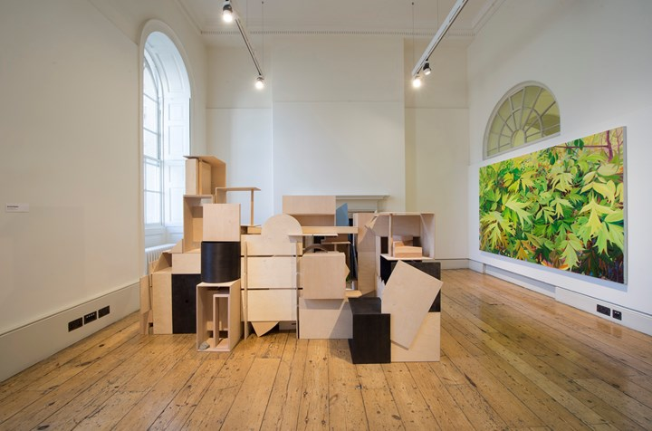 Kieren Reed & Abigail Hunt, Not only together (2019) (left); Kate Bright, Peony Tree (2019). Exhibition view: Beyond Boundaries, Somerset House, London (12 March–2 April 2019). Courtesy Somerset House. Photo: Malcolm Park.