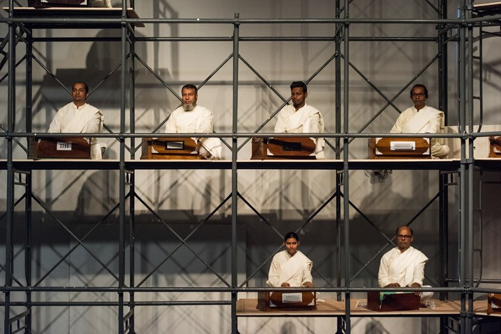 Reetu Sattar, Harano Sur (Lost Tune) (2017–2018). Performance with 35 musicians and 30 harmoniums, 1 hour. Co-commissioned by Samdani Art Foundation and the Liverpool Biennial in association with the New North New South and the Archaeology of the Final Decade. Photo: Sayed Asif Mahmud.