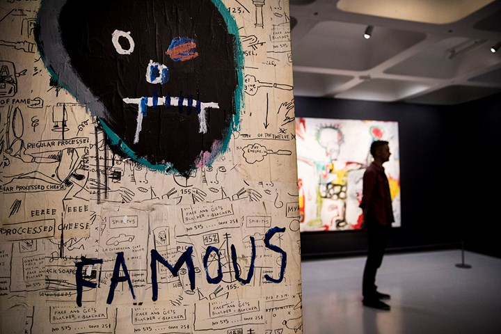 Jean-Michel Basquiat, Famous (1982). Exhibition view: Basquiat: Boom for Real, Barbican Art Gallery, London (21 September 2017–28 January 2018). Private collection. Courtesy of Liao Malca, New York. © The Estate of Jean-Michel Basquiat. Licensed by Artestar, New York. Photo: © Tristan Fewings / Getty Images.