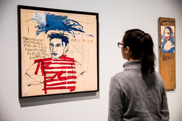Jean-Michel Basquiat, Untitled (Pablo Picasso) (1984). Exhibition view: Basquiat: Boom for Real, Barbican Art Gallery, London (21 September 2017–28 January 2018). Private collection, Italy. Courtesy Barbican Art Gallery. © The Estate of Jean-Michel Basquiat. Licensed by Artestar, New York. Photo: © Tristan Fewings / Getty Images.