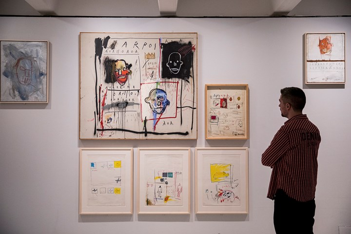 Exhibition view: Basquiat: Boom for Real, Barbican Art Gallery, London (21 September 2017–28 January 2018). Courtesy Barbican Art Gallery. Artworks: © The Estate of Jean-Michel Basquiat. Licensed by Artestar, New York. Photo: © Tristan Fewings / Getty Images.