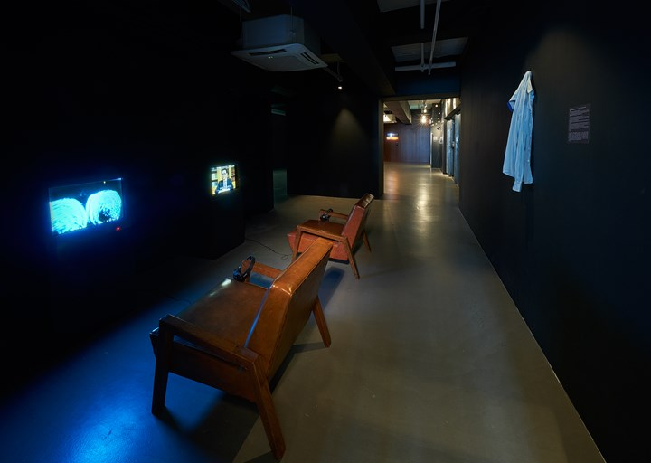 Ellen Pau, Blue (1989–1990); TV Game of the Year (1989) (left to right). Exhibition view: What About Home Affairs?, Para Site, Hong Kong (8 December 2018–17 February 2019). Courtesy Para Site.