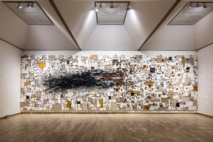 N.S. Harsha, Reclaiming the inner space (2018). Acrylic paint, acrylic mirror, wood, found cardboard packing material. 40 x 120 cm. Exhibition view: SUPERPOSITION: Equilibrium & Engagement, 21st Biennale of Sydney, Art Gallery of New South Wales, Sydney (16 March–11 June 2018). Courtesy the artist and Victoria Miro Gallery, London/Venice. Photo: Document Photography.