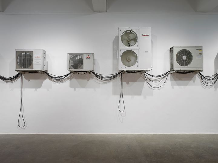 Ima-Abasi Okon, When the —[After-the-world presocial vivid therenessssssssssss and ongoinglyyyyyy] — is in the system (2019). Exhibition view: Infinite Slippage: nonRepugnant Insolvencies T!-a!-r!-r!-y!-i!-n!-g! as Hand Claps of M's Hard'Loved'Flesh [I'M irreducibly-undone because]—Quantum Leanage-Complex-Dub, Chisenhale Gallery, London (28 June – 1 September 2019). Commissioned and produced by Chisenhale Gallery. Courtesy the artist. Photo: Andy Keate.