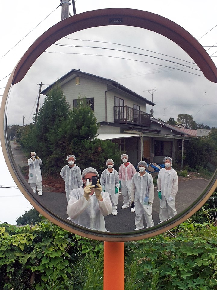 Curatorial collective on a site visit in the Fukushima exclusion zone. Courtesy Don't Follow the Wind.