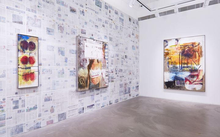 Exhibition view: Mandy El-Sayegh, Dispersal, Lehmann Maupin, Hong Kong (11 July–23 August 2019). Courtesy the artist and Lehmann Maupin, New York, Hong Kong, and Seoul. Photo: Owen Wong.