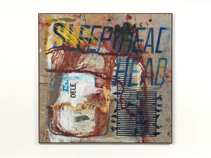Mandy El-Sayegh, Untitled (sleepy head) (2018). Oil and mixed media on linen with artist stainless steel frame. 145 x 159 cm. Courtesy the artist and Lehmann Maupin.