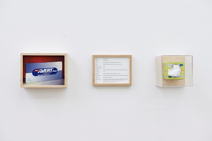 Maryam Jafri, 'Product Recall: An Index of Innovation' (2014–2015). Framed texts, photographs, objects. Courtesy the artist and Laveronica arte contemporanea.