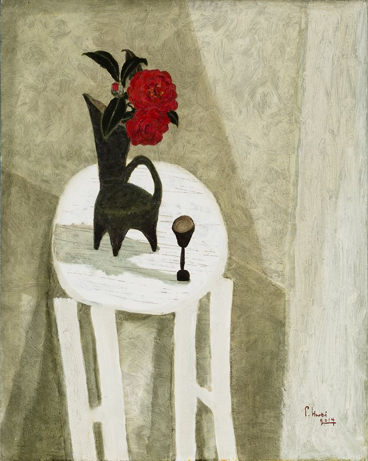 Dong Shawhwei, Red Camellia on white table (2014). Oil on canvas. 91 x 73 cm. Courtesy the artist.