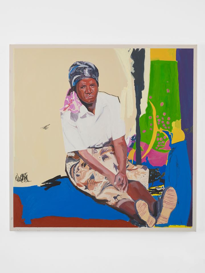 Kudzanai-Violet Hwami, Sitting by Sekuru's grave (2019). Oil on canvas. 120 x 120 cm. Commissioned by Gasworks. Courtesy the artist and Tyburn Gallery. Photo: Andy Keate.