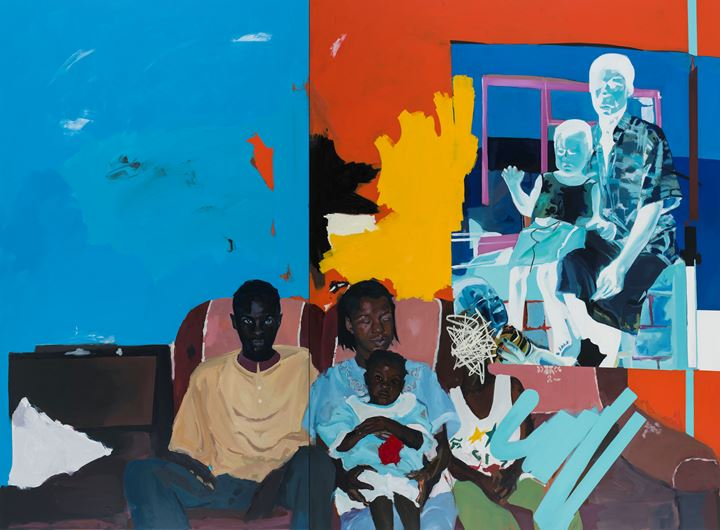 Kudzanai-Violet Hwami, Family Portrait (2017). Oil and acrylic on canvas. 220 x 298 cm. Courtesy the artist and Tyburn Gallery.