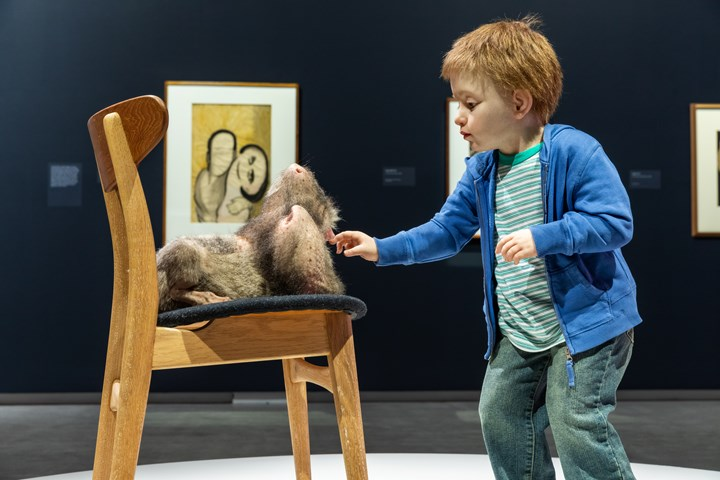 Patricia Piccinini, Doubting Thomas (2008). Exhibition view: Patricia Piccinini & Joy Hester: Through love ..., TarraWarra Museum of Art (25 November 2018–11 March 2019). Collection: McClelland Sculpture Park + Gallery, Langwarrin, Victoria; Purchased in 2010, The Elisabeth Murdoch Sculpture Foundation. Courtesy the artist, Tolarno Galleries, Melbourne, and Roslyn Oxley9 Gallery, Sydney. Photo: Rick Liston.