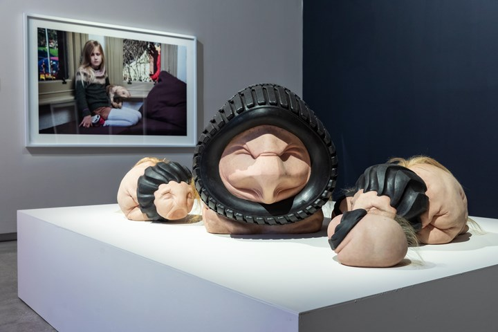 Patricia Piccinini, Tyre Lion (2018), Tyre Lion Cubs (2018), and Tyre Lion Infants (2018). Exhibition view: Patricia Piccinini & Joy Hester: Through love ..., TarraWarra Museum of Art (25 November 2018–11 March 2019). Collection of the artist. Courtesy the artist, Tolarno Galleries, Melbourne, and Roslyn Oxley9 Gallery, Sydney. Photo: Rick Liston.
