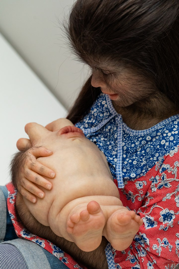 Patricia Piccinini, The Comforter (detail) (2010). Exhibition view: Patricia Piccinini & Joy Hester: Through love ..., TarraWarra Museum of Art (25 November 2018–11 March 2019). Collection: Art Gallery of New South Wales, Sydney; purchased 2010. Courtesy the artist, Tolarno Galleries, Melbourne, and Roslyn Oxley9 Gallery, Sydney. Photo: Rick Liston.