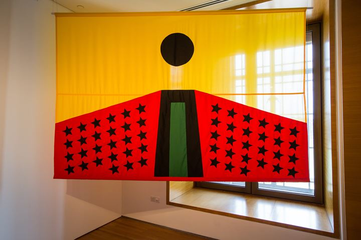 Larry Achiampong, PAN AFRICAN FLAG FOR THE RELIC TRAVELLERS: ALLIANCE (ASCENSION) (2018). Exhibition view: Every Step in the Right Direction, Singapore Biennale 2019, Singapore Art Museum (22 November 2019–22 March 2020). Courtesy Singapore Art Museum.